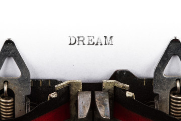 Typewriter with text dream