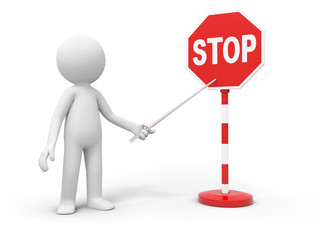 3D people with a stop sign