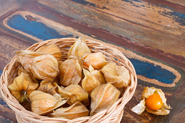 Physalis in basket on table