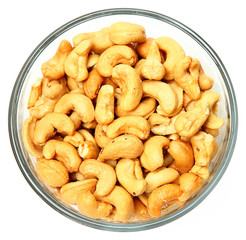Salted Cashews in Glass Bowl