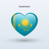 Love Kazakhstan symbol. Heart flag icon.