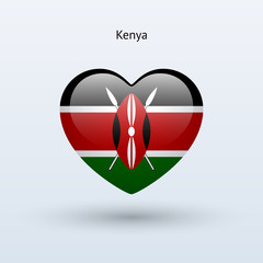 Love Kenya symbol. Heart flag icon.