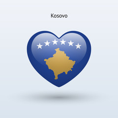 Love Kosovo symbol. Heart flag icon.