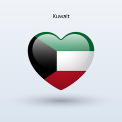 Love Kuwait symbol. Heart flag icon.