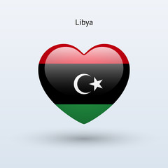 Love Libya symbol. Heart flag icon.