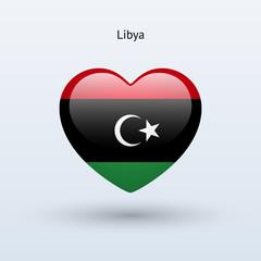 Love Libya symbol. Heart flag icon.