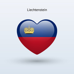Love Liechtenstein symbol. Heart flag icon.
