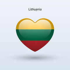 Love Lithuania symbol. Heart flag icon.