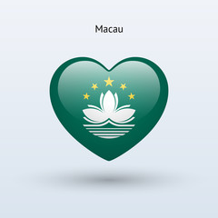 Love Macau symbol. Heart flag icon.