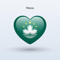 Love Macau symbol. Heart flag icon.