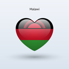 Love Malawi symbol. Heart flag icon.
