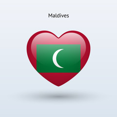 Love Maldives symbol. Heart flag icon.