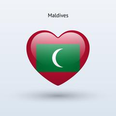 Love Maldives symbol. Heart flag icon.