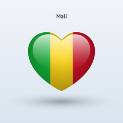 Love Mali symbol. Heart flag icon.