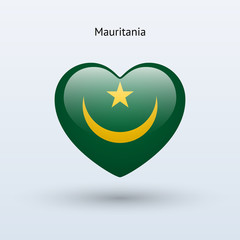 Love Mauritania symbol. Heart flag icon.