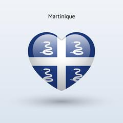 Love Martinique symbol. Heart flag icon.