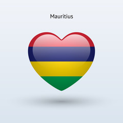 Love Mauritius symbol. Heart flag icon.