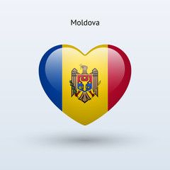 Love Moldova symbol. Heart flag icon.