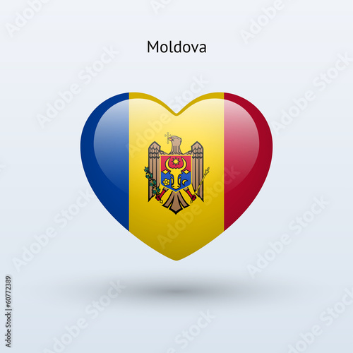 Love Moldova symbol. Heart flag icon.