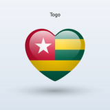 Love Togo symbol. Heart flag icon.