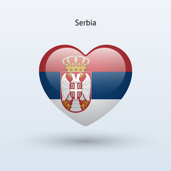Love Serbia symbol. Heart flag icon.