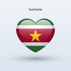 Love Suriname symbol. Heart flag icon.