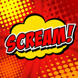 Scream! Comic Speech Bubble, Cartoon.