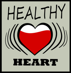 healthy heart graphic design with pumping heart