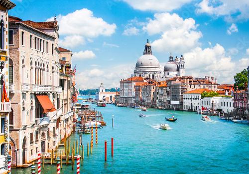 Zdjęcia na płótnie, fototapety na wymiar, obrazy na ścianę : Grand Canal and Basilica Santa Maria della Salute, Venice, Italy
