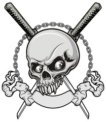 skull with samurai