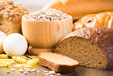 Fresh bread, eggs, pasta and grains