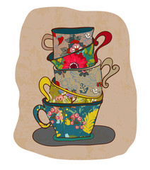 tea cup background with floral pattern
