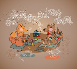 Cartoon fox and wolf tea time