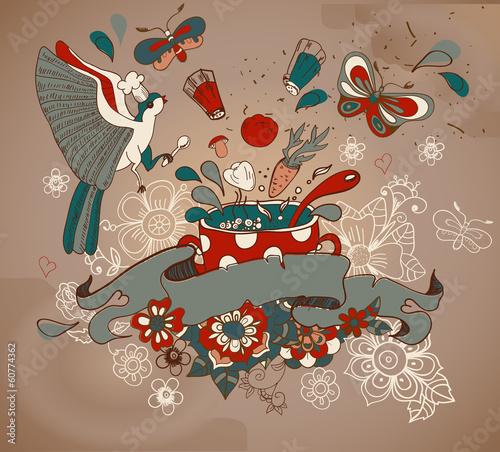 piekna-kreskowka-z-warzywami-patelni-ptakow-i-kwiatow