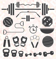 Vector Set: Weight Lifting and Workout Icons and Symbols