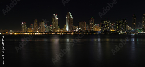 Panoramic skyline of San Diego, California at night