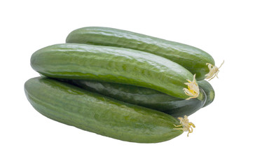 Cucumbers isolated on white .