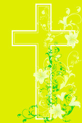 christian cross and plant  15