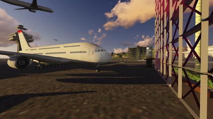 Personen winken startendem Flugzeug