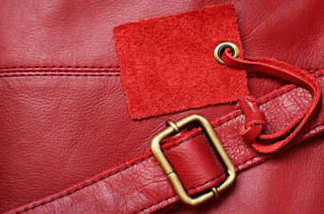 Red leather and a label