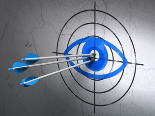 Privacy concept: arrows in Eye target on wall background