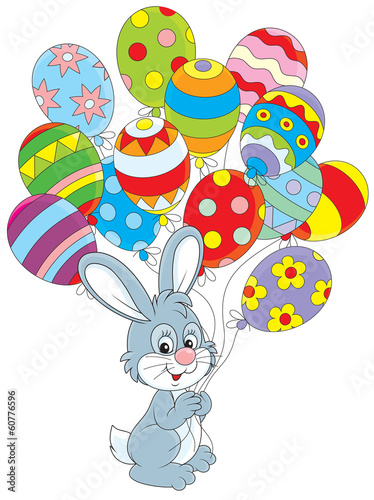 Easter rabbit with colorful balloons