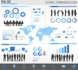 Global Business Infographic Vector