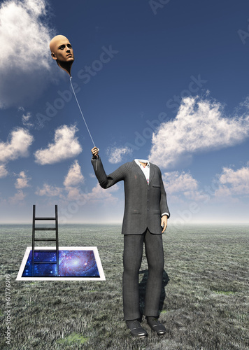 Headless Man with Floating Head Balloon