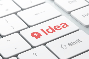 Advertising concept: Head With Light Bulb and Idea on computer