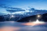 Fototapety Night view over Zell am See/Kaprun, Austria