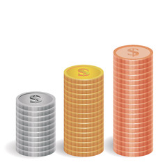 Raising stacks of golden, silver and copper coins
