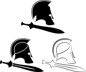 set of ancient helmets with swords