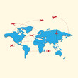 World travel map with airplanes