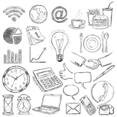 vector set of 25 hand draw business icons